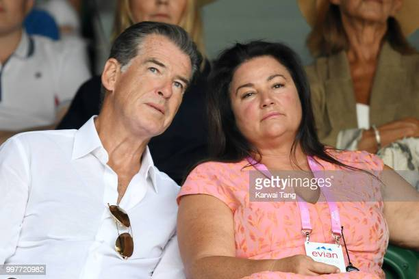 Pierce Brosnan and his wife Keely Shaye Smith attend day eleven of the Wimbledon Tennis Championships at the All England Lawn Tennis and Croquet Club...