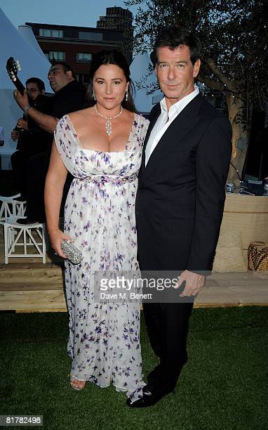 Pierce Brosnan and his wife Keely Shaye Smith attend the afterparty following the UK film premiere of 'Mamma Mia' at The Room by the River on June 30...
