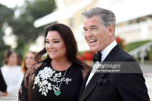 Pierce Brosnan and his wife Keely Shaye Smith attend the cocktail at the amfAR Gala Cannes 2018 at Hotel du CapEdenRoc on May 17 2018 in Cap...