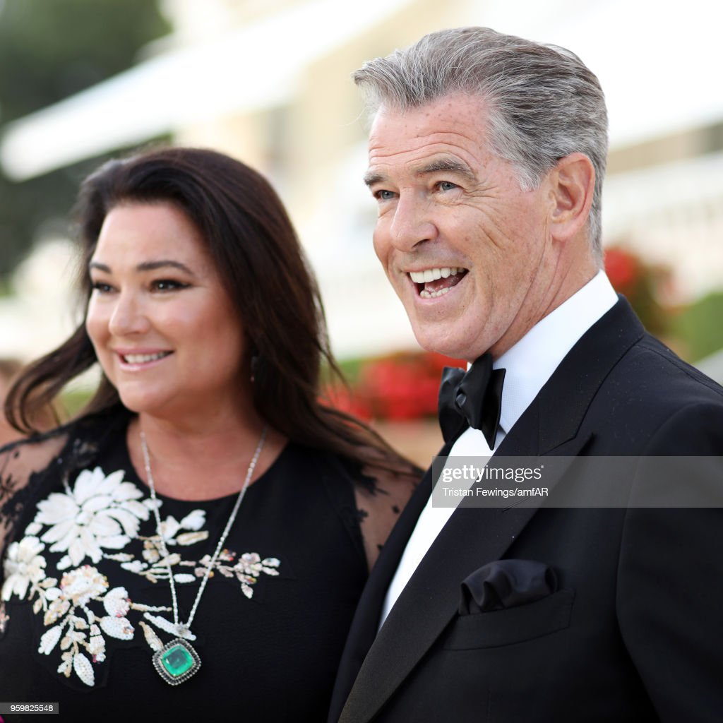 Pierce Brosnan and his wife Keely Shaye Smith attend the cocktail at the amfAR Gala Cannes 2018 at Hotel du Cap-Eden-Roc on May 17, 2018 in Cap d'Antibes, France.