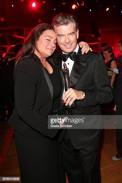 Pierce Brosnan and his wife Keely Shaye Smith with award during the 29th European Film Awards at National Forum of Music on December 10 2016 in...