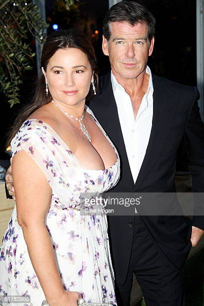 Pierce Brosnan and Keely Shaye Smith arrive at the UK premiere afterparty of 'Mamma Mia' on June 30 2008 in London England