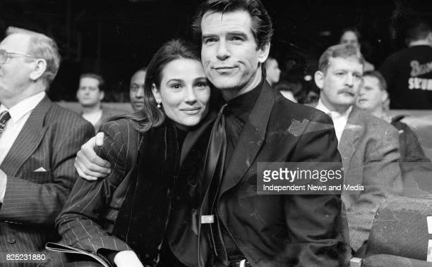Pierce Brosnan and Keely Shaye Smith at the Point Depot During the Boxing match between Stephen Collins and Cornelius Carr