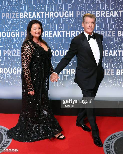 Pierce Brosnan and Keely Shaye Smith attend the 7th Annual Breakthrough Prize Ceremony at NASA Ames Research Center on November 4 2018 in Mountain...