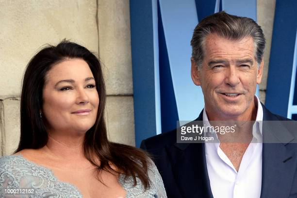 Pierce Brosnan and Keely Shaye Smith attend the UK Premiere of Mamma Mia Here We Go Again at Eventim Apollo on July 16 2018 in London England