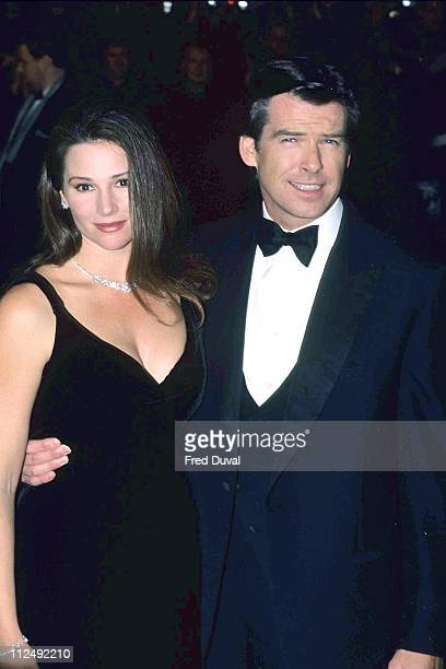 Pierce Brosnan and Keely Shaye Smith during Tomorrow Never Dies UK Film Premiere December 1 1997 at Leicester Square in London Great Britain