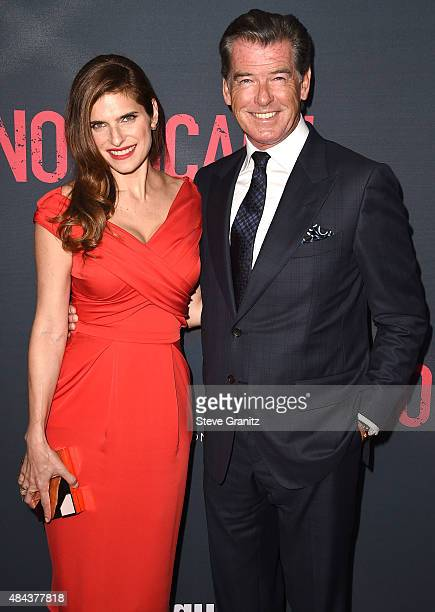 """Pierce Brosnan and Lake Bell arrives at the Premiere Of The Weinstein Company's """"No Escape"""" at Regal Cinemas L.A. Live on August 17, 2015 in Los..."""