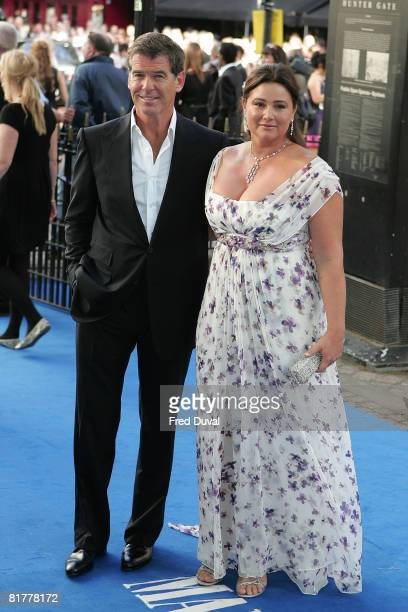 Pierce Brosnan and wife Keeley Shaye Smith attend the World Premiere of Mamma Mia at The Odeon Leicester Square on June 30 2008 in London England
