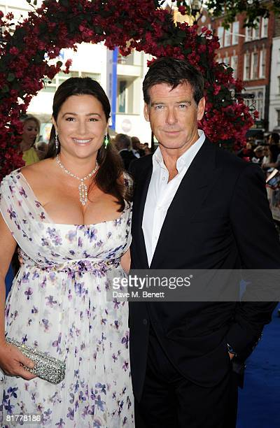 Pierce Brosnan and wife Keely Shaye Smith arrive at the UK film premiere of Mamma Mia the Movie at the Odeon Leicester Square on June 30 2008 in...