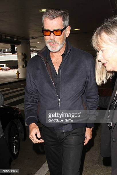Pierce Brosnan is seen at LAX on January 18 2016 in Los Angeles California