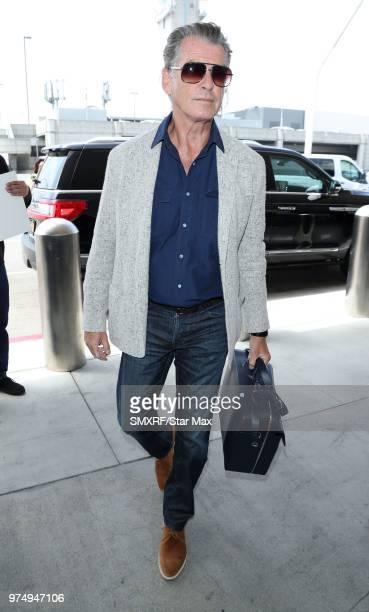 Pierce Brosnan is seen at Los Angeles International Airport on June 14 2018 in Los Angeles California