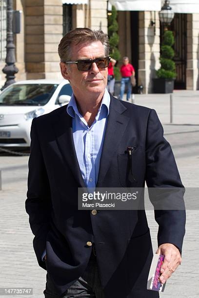 Pierce Brosnan is seen strolling on the 'Place Vendome' on July 2 2012 in Paris France