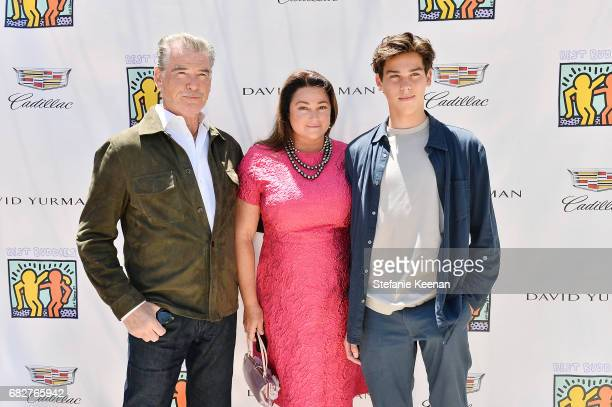Pierce Brosnan Keely Shaye Smith and Paris Brosnan attend Cindy Crawford and Kaia Gerber host Best Buddies Mother's Day Brunch in Malibu CA sponsored...