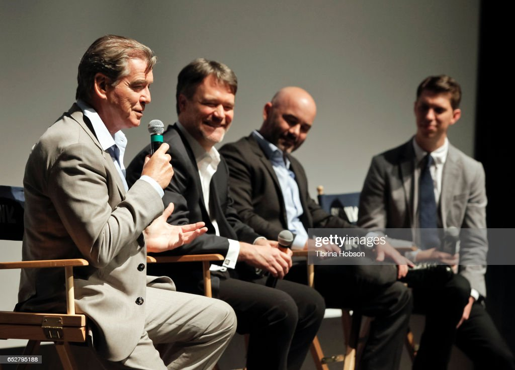 Pierce Brosnan, Kevin Murphy, Philipp Meyer and Tim Taliaferro attend AMC's 'The Son' premiere and panel with Pierce Brosnan, Philipp Meyer, Kevin Murphy on March 12, 2017 in Austin, Texas.