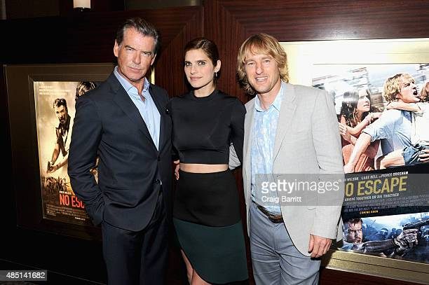 Pierce Brosnan Lake Bell and Owen Wilson attend the special screening of NO ESCAPE with Owen Wilson Lake Bell and Pierce Brosnan at Dolby 88 Theater...
