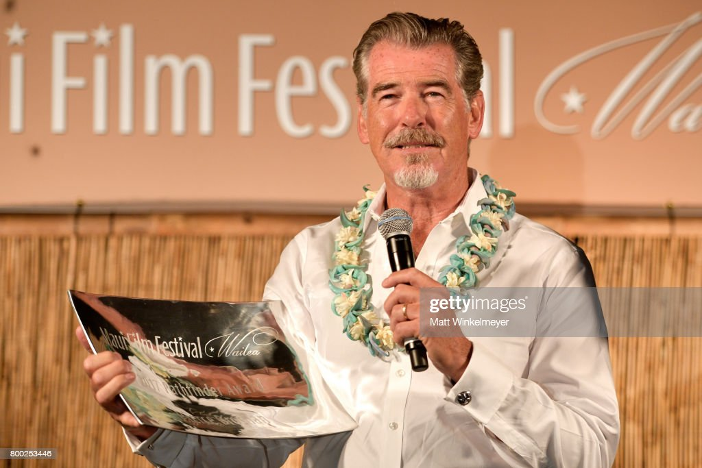 Pierce Brosnan receives the Pathfinder Award during the 'Celestial Cinema' on day three of the 2017 Maui Film Festival At Wailea on June 23, 2017 in Wailea, Hawaii.