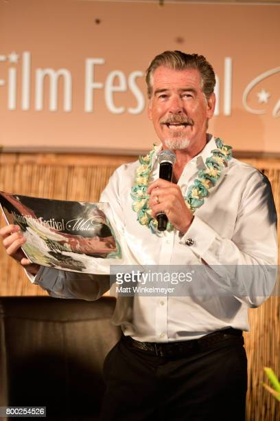 Pierce Brosnan receives the Pathfinder Award during the 'Celestial Cinema' on day three of the 2017 Maui Film Festival At Wailea on June 23 2017 in...