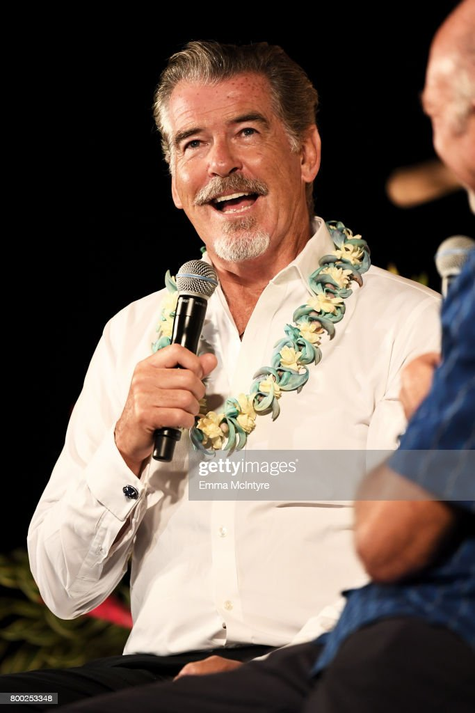 Pierce Brosnan. recipient of the Pathfinder Award, speaks during the 'Celestial Cinema' on day three of the 2017 Maui Film Festival At Wailea on June 23, 2017 in Wailea, Hawaii.