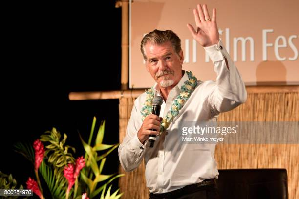 Pierce Brosnan recipient of the Pathfinder Award speaks during the 'Celestial Cinema' on day three of the 2017 Maui Film Festival At Wailea on June...