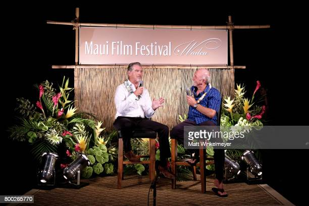 Pierce Brosnan recipient of the Pathfinder Award speaks with interviewer Rick Chatenever during the 'Celestial Cinema' on day three of the 2017 Maui...