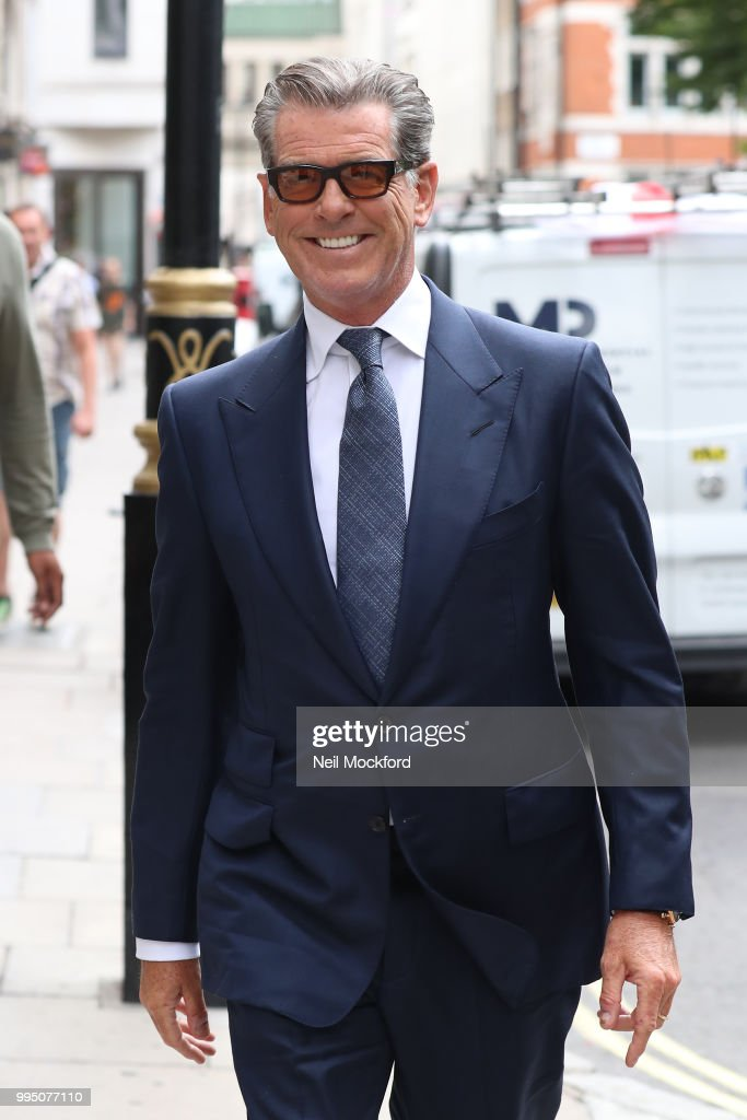Pierce Brosnan seen at the Magic Radio studios promoting new movie 'Mamma Mia! Here We Go Again' on July 10, 2018 in London, England.