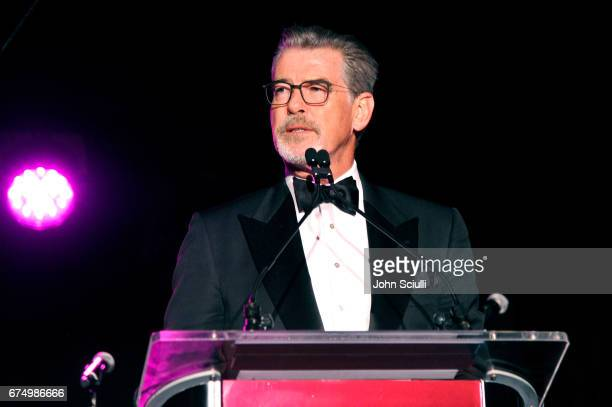 Pierce Brosnan speaks at the MOCA Gala 2017 honoring Jeff Koons at The Geffen Contemporary at MOCA on April 29 2017 in Los Angeles California