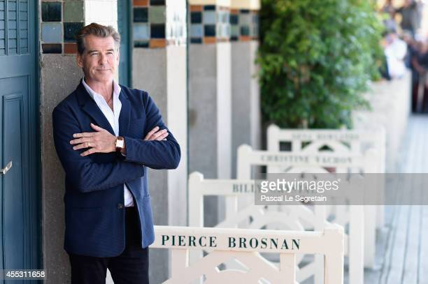 Pierce Brosnan unveils his cabin sign as a tribute for his career along the promenade des planches during the 40th Deauville American film festival...