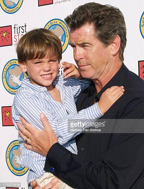 Pierce Brosnan with son Paris Beckett during First Star's 'Celebration for Children's Right's' Benefit Arrivals at Santa Monica Airport Barker Hangar...