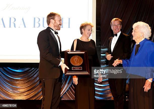 Pierce Bush President CEO US Fund for UNICEF Caryl Stern Neil Bush and honoree Barbara Bush onstage at the UNICEF Audrey Hepburn Society Ball...