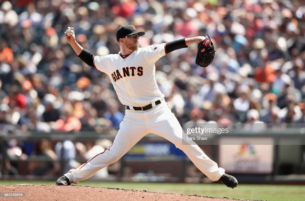 Pierce Johnson #58 of the San Francisco Giants pitches against the Washington Nationals in the fourth inning aat AT&T Park on April 25, 2018 in San Francisco, California.