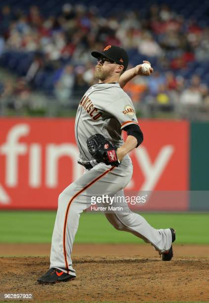 Pierce Johnson of the San Francisco Giants throws a pitch during a game against the Philadelphia Phillies at Citizens Bank Park on May 9 2018 in...