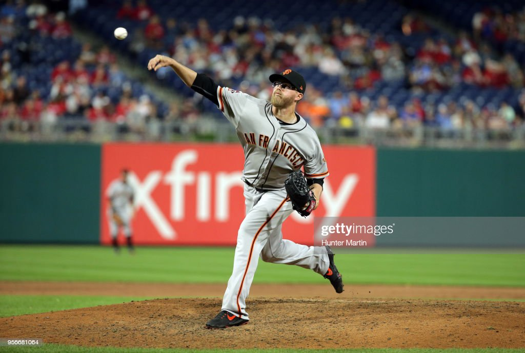 Pierce Johnson #58 of the San Francisco Giants throws a pitch in the sixth inning during a game against the Philadelphia Phillies at Citizens Bank Park on May 9, 2018 in Philadelphia, Pennsylvania. The Phillies won 11-3.