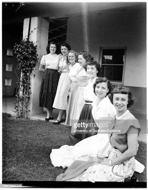 Pierce Jr College queen candidates for home coming week April 20 1951 Jeannie WrightSally RosalesCarol BloomSaly AmesKay HendersonBetty NetzowJeane...