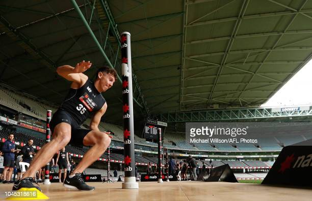 Pierce Laverty performs the agility test during the AFL Draft Combine at Marvel Stadium on October 4 2018 in Melbourne Australia