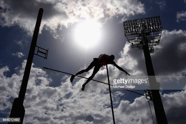 Pierce Lepage of Canada competes in the Men's Decathlon Pole Vault during the Athletics on day six of the Gold Coast 2018 Commonwealth Games at...