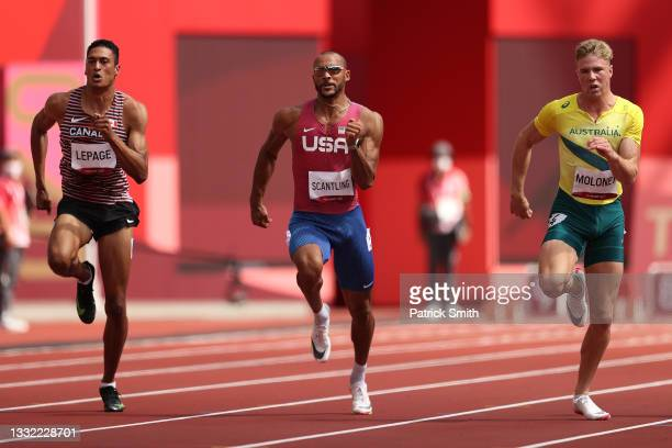 Pierce Lepage of Team Canada, Garrett Scantling of Team United States and Ashley Moloney of Team Australia compete in the Men's Decathlon 100m heats...