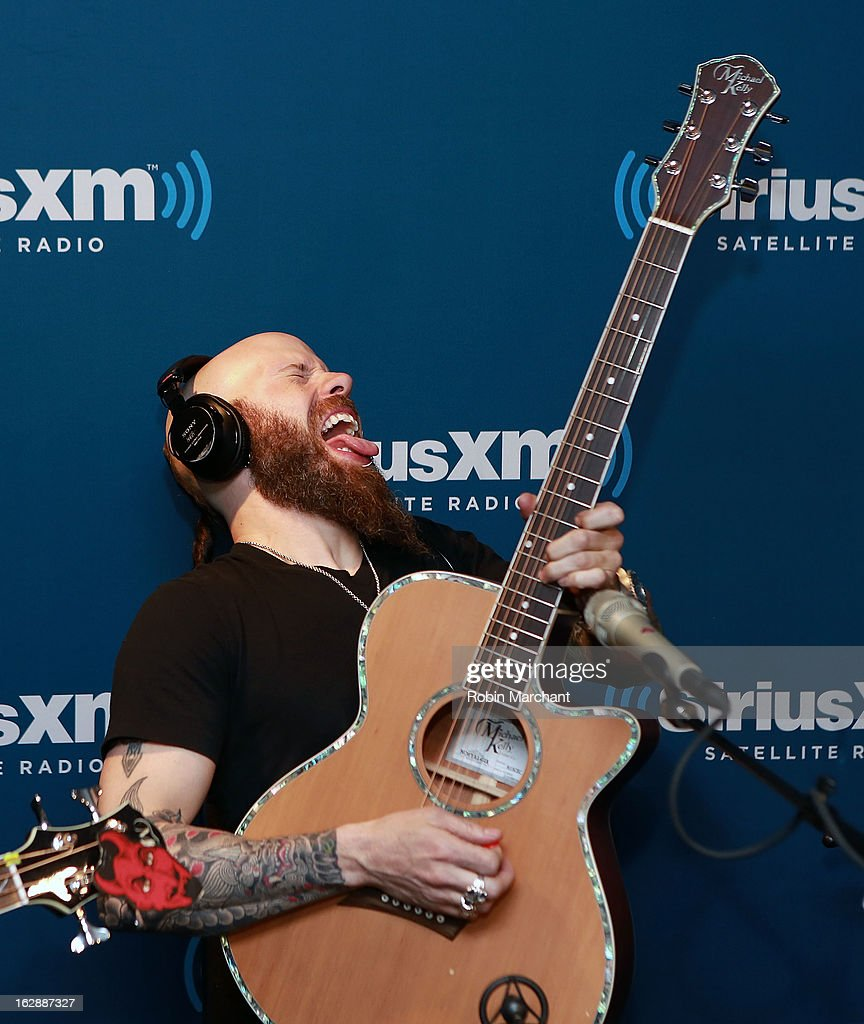 C.J. Pierce of Drowning Pool performs on SiriusXM's Octane channel at SiriusXM Studios on February 28, 2013 in New York City.