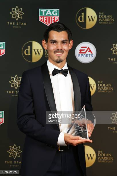 Pierce Waring of Sydney FC poses with the National Youth League Top Goal Scorer award during the FFA Dolan Warren Awards at The Star on May 1 2017 in...