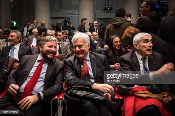 Pierferdinando Casini Giampiero D'Alia and Gianluigi Galletti attend presentation of the symbol of Civica Popolare Lorenzin for the general elections...