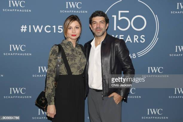 Pierfrancesco Favino and Anna Ferzetti visit the IWC booth during the Maison's launch of its Jubilee Collection at the Salon International de la...