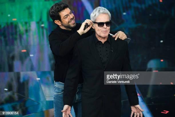 Pierfrancesco Favino and Claudio Baglioni attend the third night of the 68 Sanremo Music Festival on February 8 2018 in Sanremo Italy
