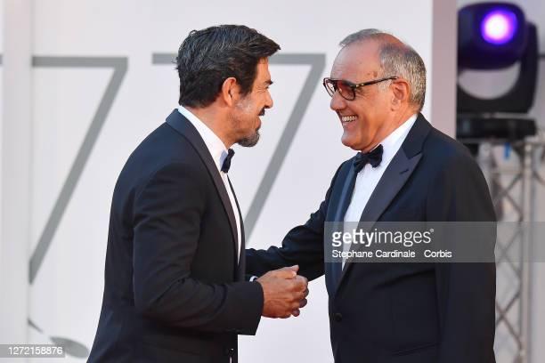 Pierfrancesco Favino and Director of 77 Mostra Internazionale d'Arte Cinematografica Alberto Barbera walk the red carpet ahead of closing ceremony at...
