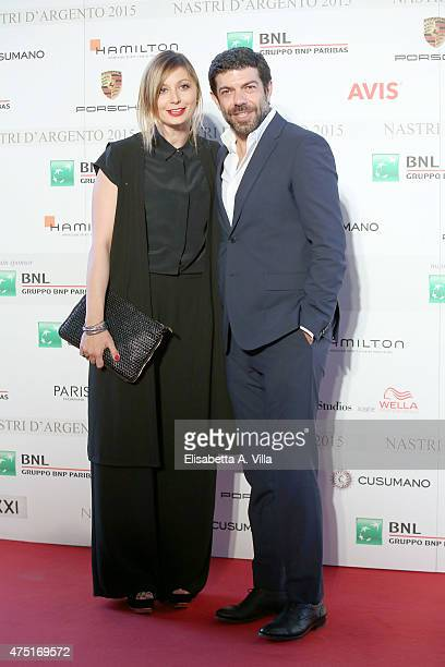 Pierfrancesco Favino and wife Anna Ferzetti attend '2015 Nastro D'Argento Award' Nominees Announcement at Maxxi Museum on May 29 2015 in Rome Italy