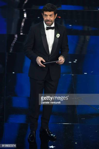 Pierfrancesco Favino attends the third night of the 68 Sanremo Music Festival on February 8 2018 in Sanremo Italy