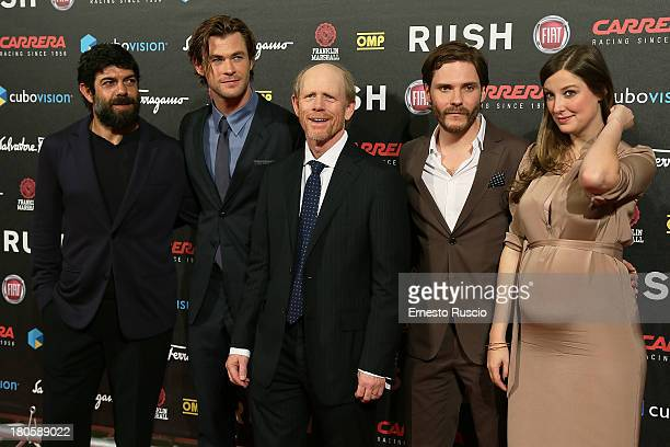 Pierfrancesco Favino Chris Hemsworth director Ron Howard Daniel Bruhl and Alexandra Maria Lara attend the 'Rush' Premiere at Auditorium della...