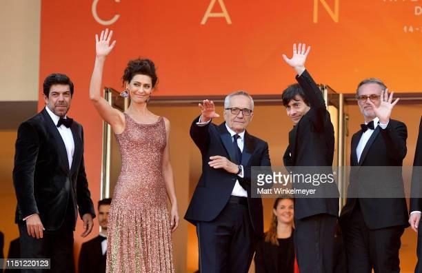 Pierfrancesco Favino Marco Bellocchio Maria Fernanda Cândido and Luigi Lo Cascio attend the screening of The Traitor during the 72nd annual Cannes...