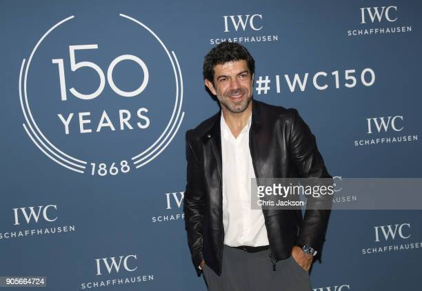 Pierfrancesco Favino visits the IWC booth during the Maison's launch of its Jubilee Collection at the Salon International de la Haute Horlogerie on...