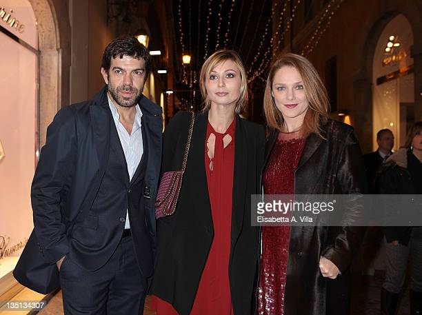 Pierfrancesco Favino wife Anna Ferzetti and Fabrizia Sacchi attend the Christmas Lights Cocktail Party at the Stella McCartney boutique on December 6...