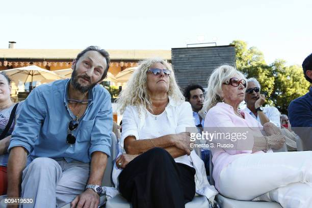 Pierfrancesco Villaggio Elisabetta Villaggio and Maura Albites attend the Paolo Villaggio Funeral at Casa del Cinema on July 5 2017 in Rome Italy
