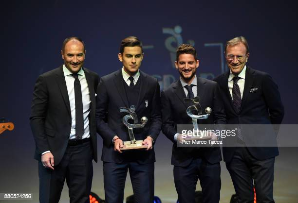 Pierluigi Casiraghi Paulo Dybala and Dries Mertens attend the Gran Gala Del Calcio 2017 on November 27 2017 in Milan Italy